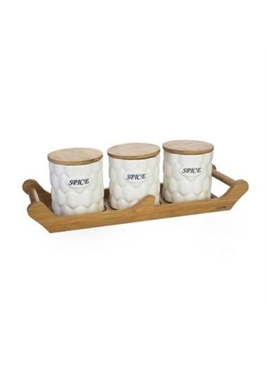 Acar Acar PORJ-8886/8 Bambu Standlı 3lü Porselen Kavanoz Seti Renkli
